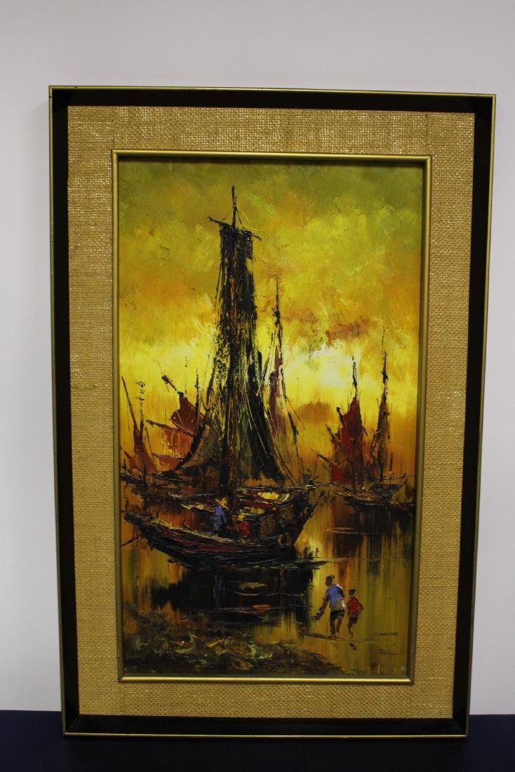 Dynamic Tall Painting of Fishing Boats