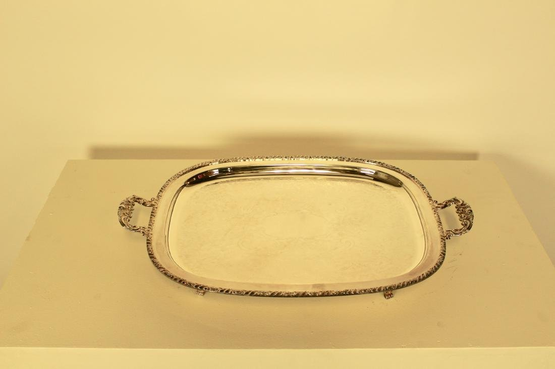 Large Silver Plate Rectangular Tray