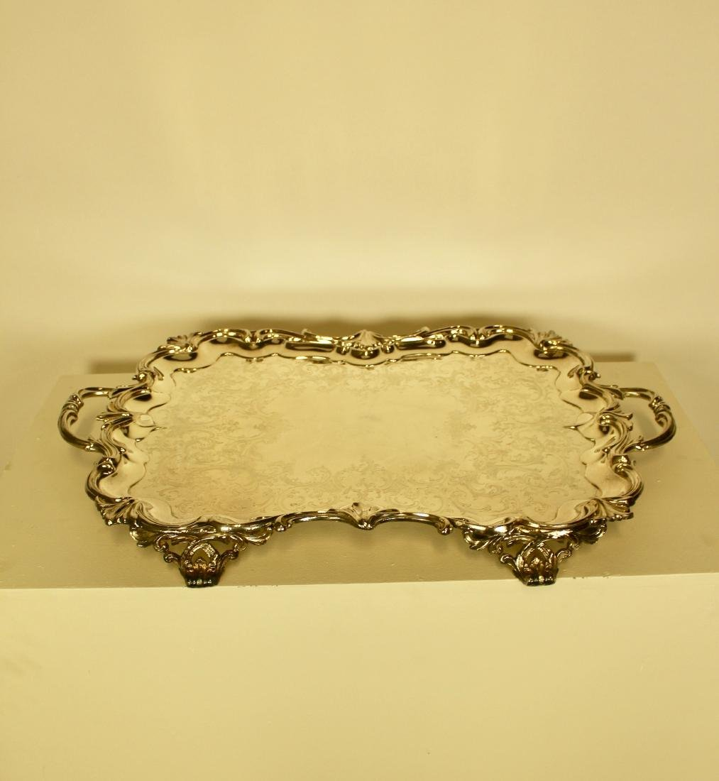 French Rococo Style Very Large Silver Plate Tray