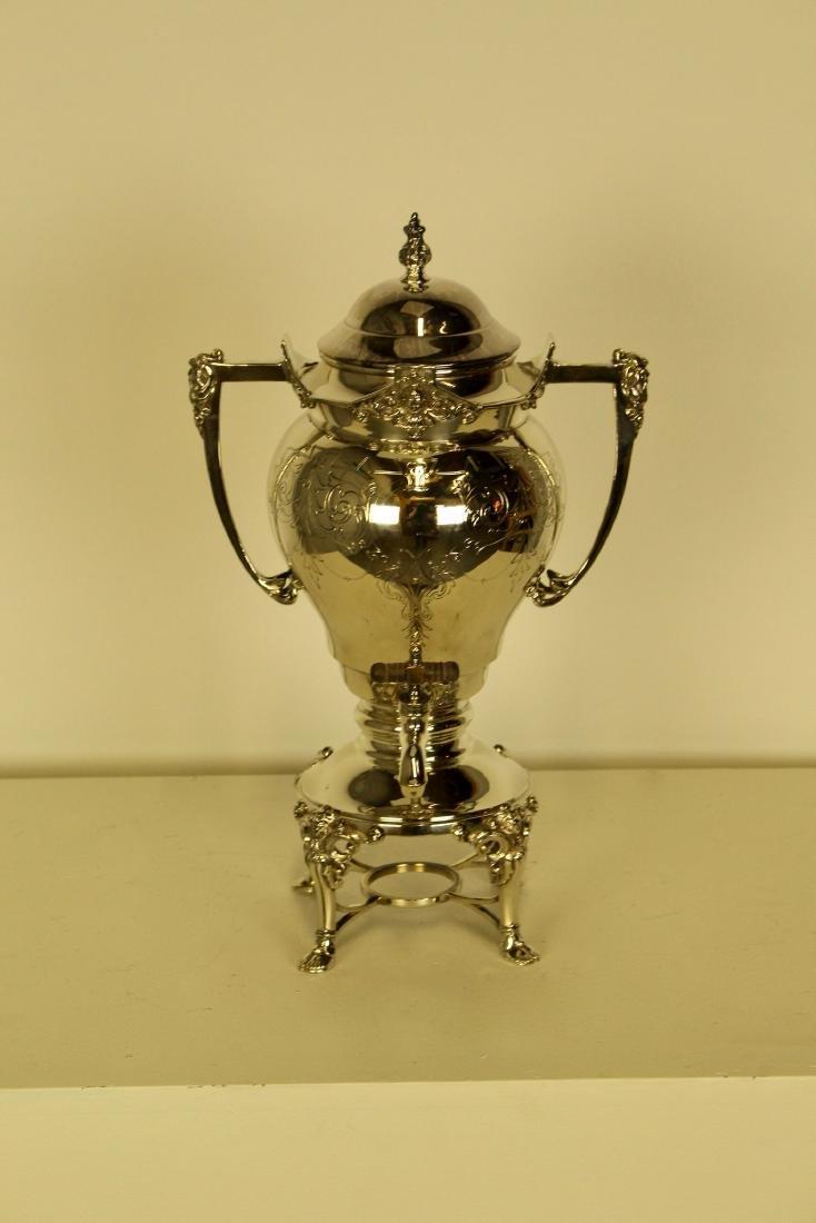 Large & Opulent Decorated Silver Plate Samovar