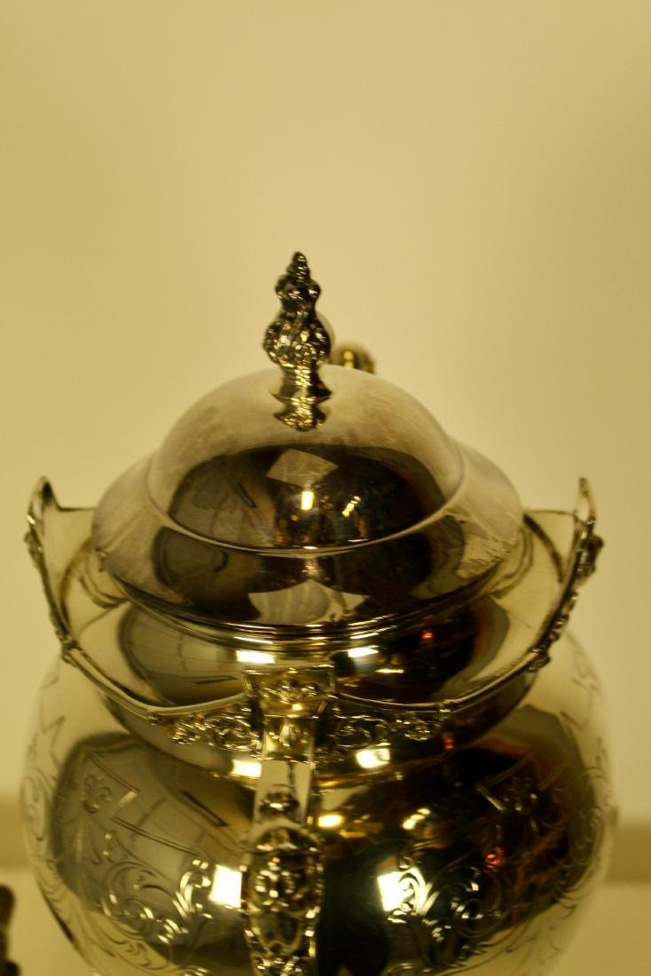 Large & Opulent Decorated Silver Plate Samovar - 4