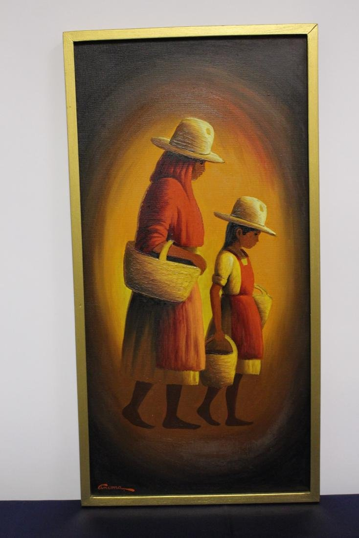 Mexican Painting of Mother and Daughter