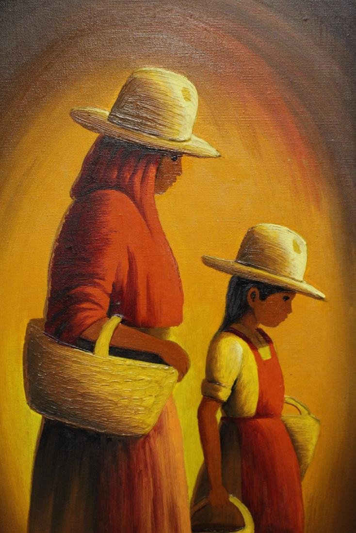 Mexican Painting of Mother and Daughter - 3