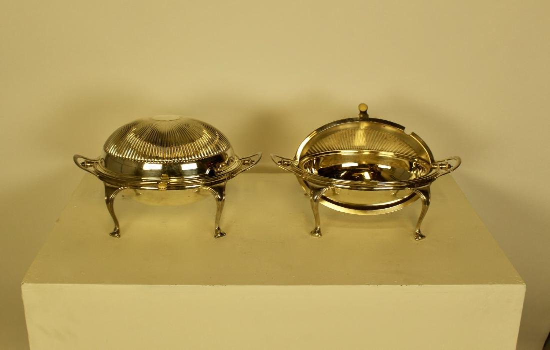 Large Matched Pair of Articulated Silver Plate Dishes