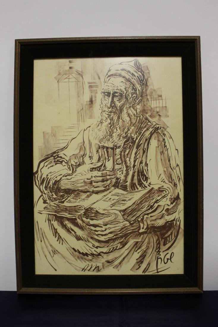 Signed Painting of Elder Reading