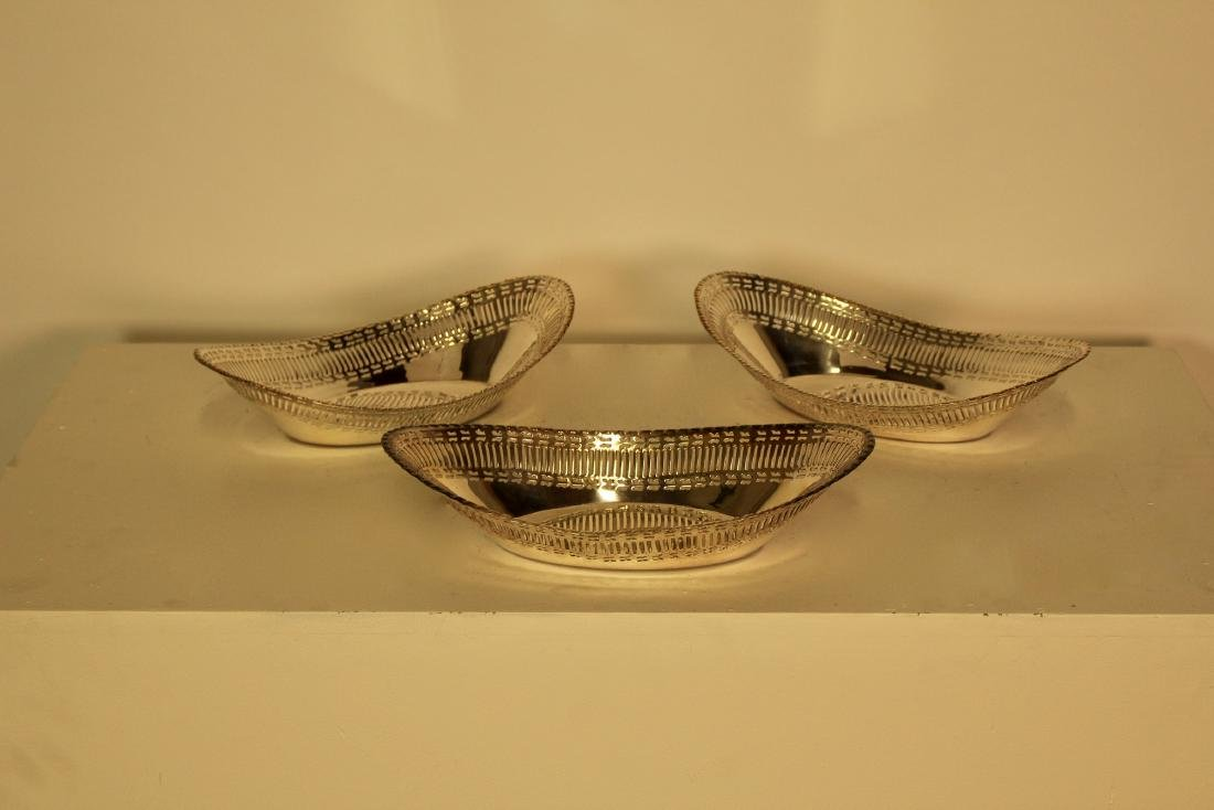 Three Matching Silver Plate Bread Baskets