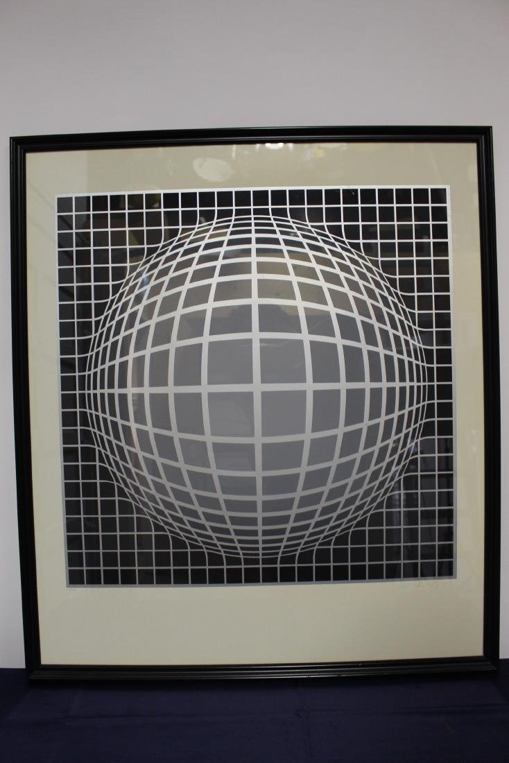 Victor Vasarely Limited Edition Lithograph under Glass