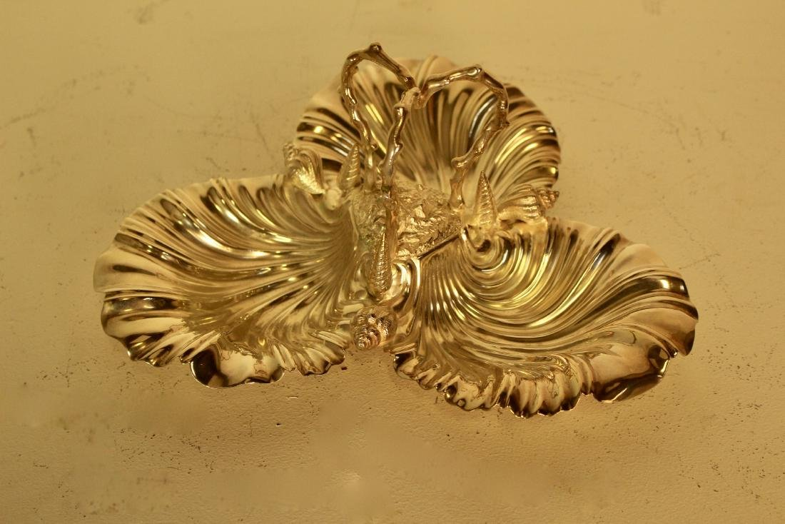 Shell Form Decorated Silver Plate Serving Dish