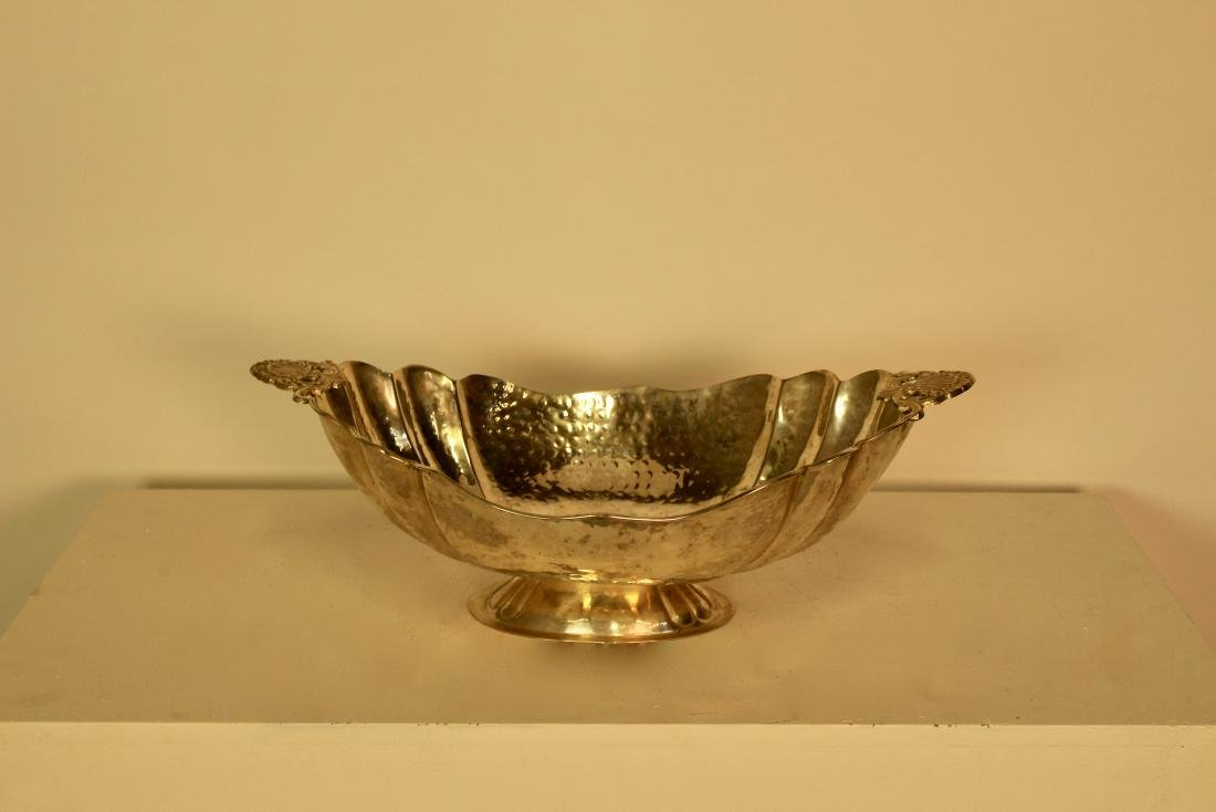 Large Hammered Silver Plate Boat Shaped Serving Dish