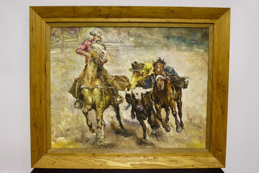 Fried Pal Mid Century Oil on Canvas Painting of Cowboys