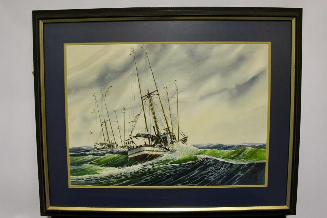 Harry Heine Large Watercolour of Fishing Boats