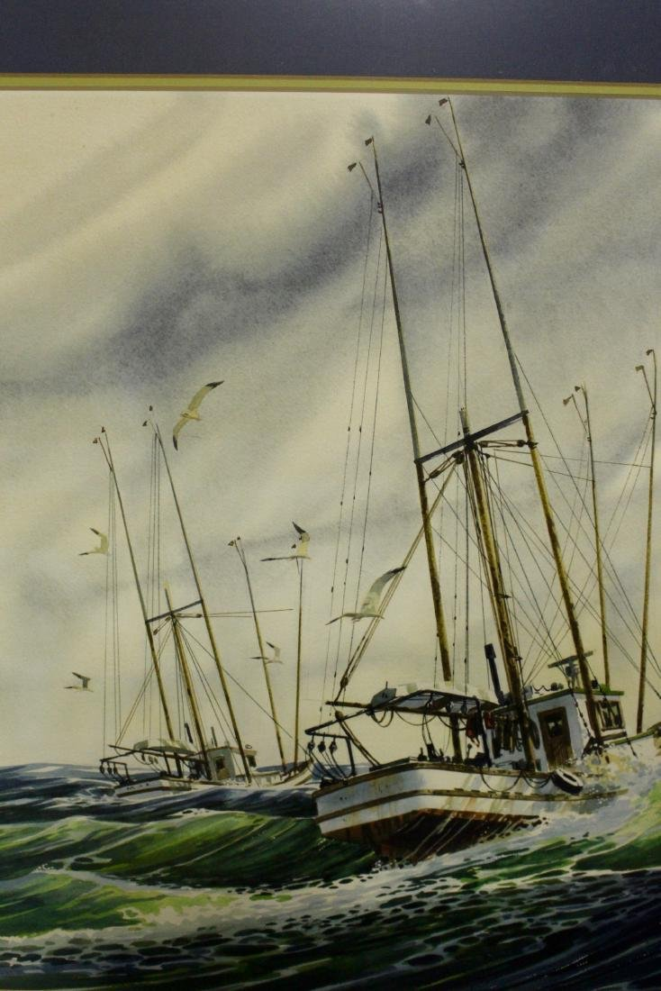 Harry Heine Large Watercolour of Fishing Boats - 3