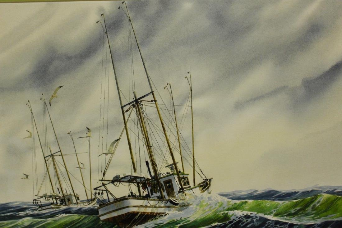 Harry Heine Large Watercolour of Fishing Boats - 4
