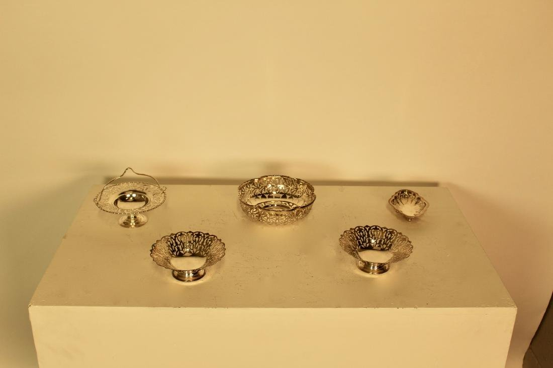 Five Pieces of Silver Plate Candy Dishes