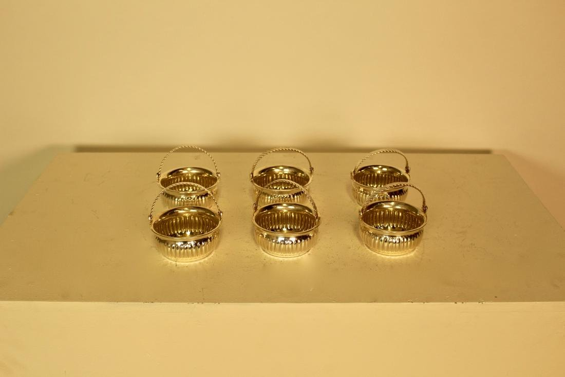 Six Silver Plate Articulated Handle Candy Dishes