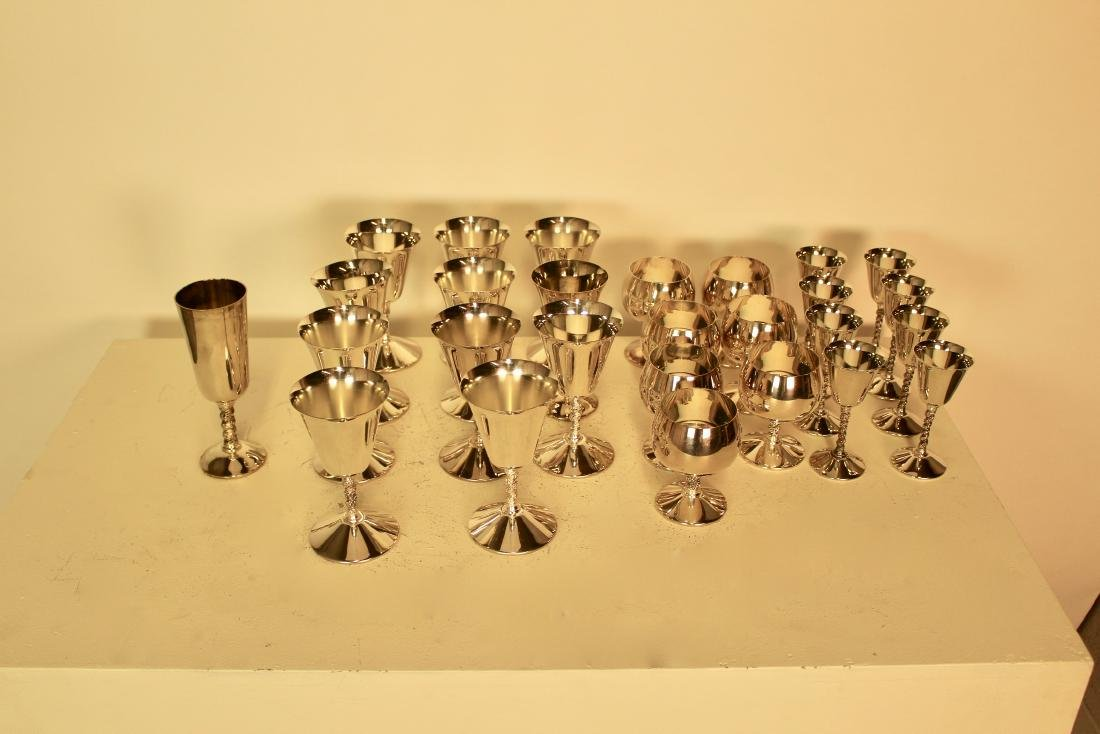 Set of 27 Silver Plate Cups