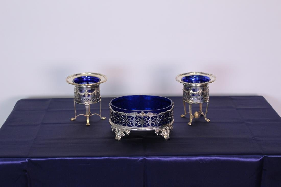 Three Silver Plate Serving Plates with Cobalt Liners