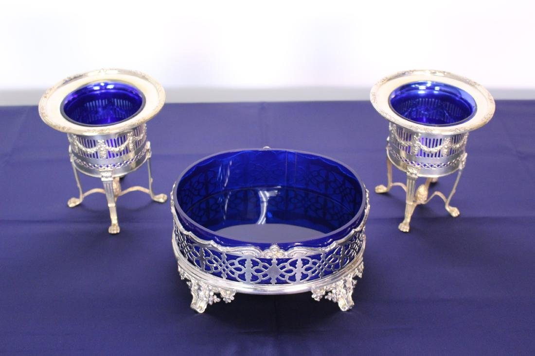 Three Silver Plate Serving Plates with Cobalt Liners - 2