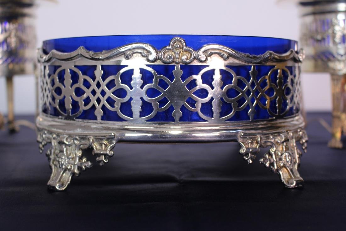 Three Silver Plate Serving Plates with Cobalt Liners - 3