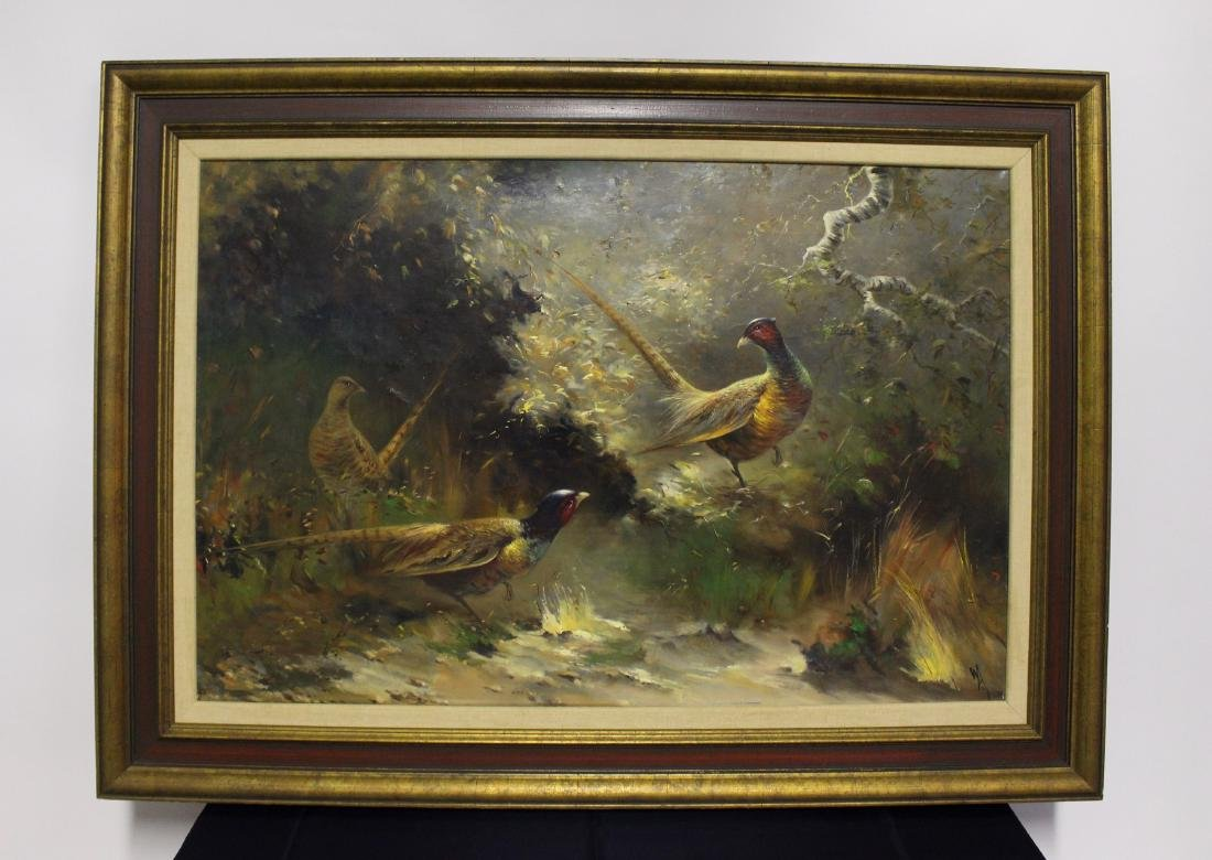 Original Oil Painting of Peacocks