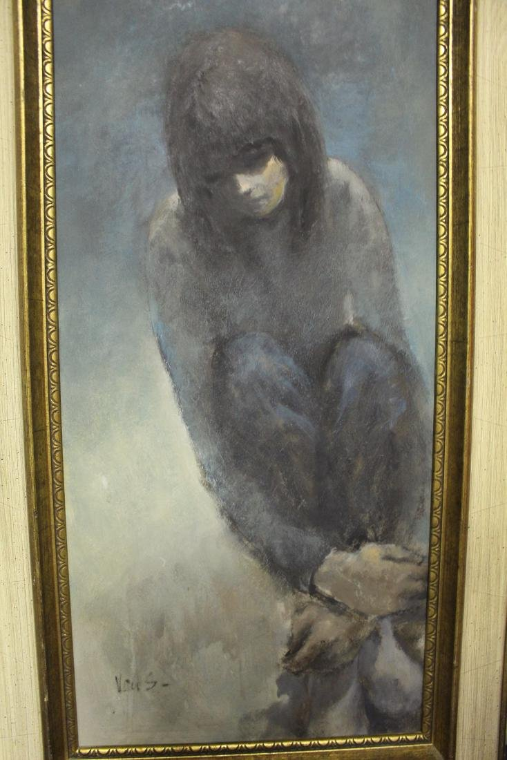 Oil Painting of Girl in Thought Signed Van S. - 3