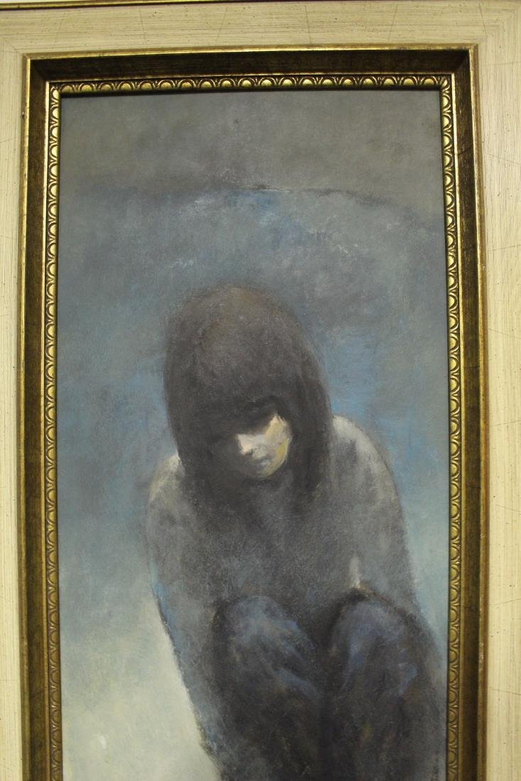 Oil Painting of Girl in Thought Signed Van S. - 4