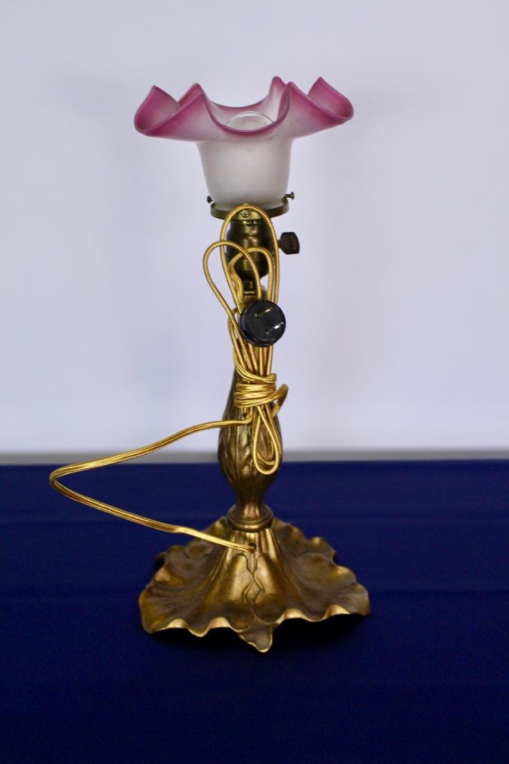 Victorian Table Lamp with Stylized Leaf Base - 4
