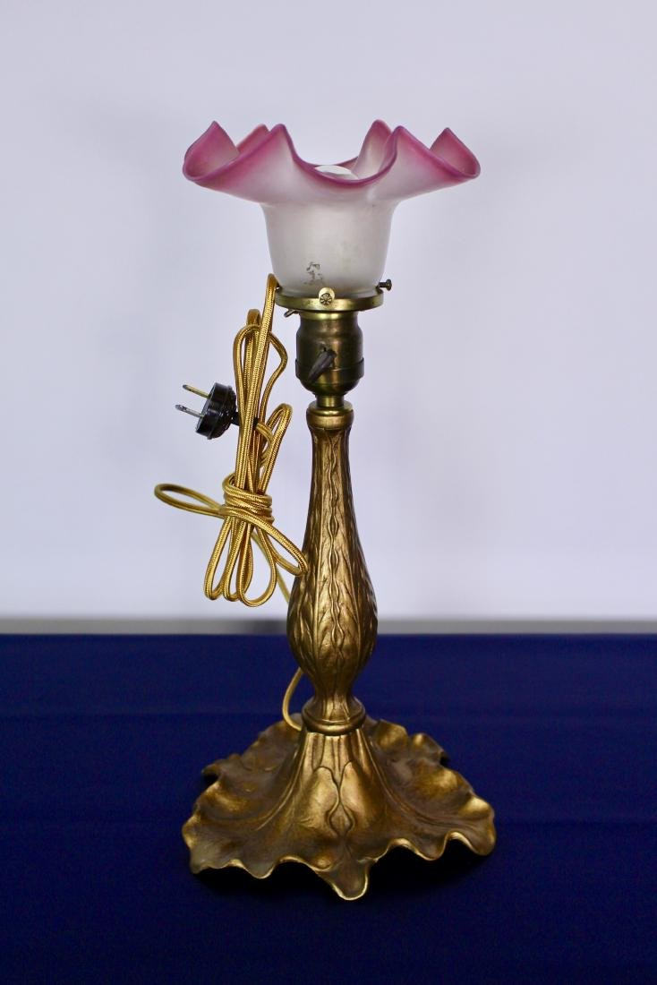 Victorian Table Lamp with Stylized Leaf Base - 5