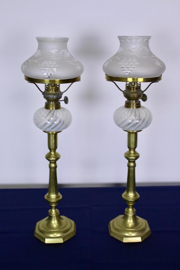 Rare Pair of Opalescent Glass Peg Lights - 2