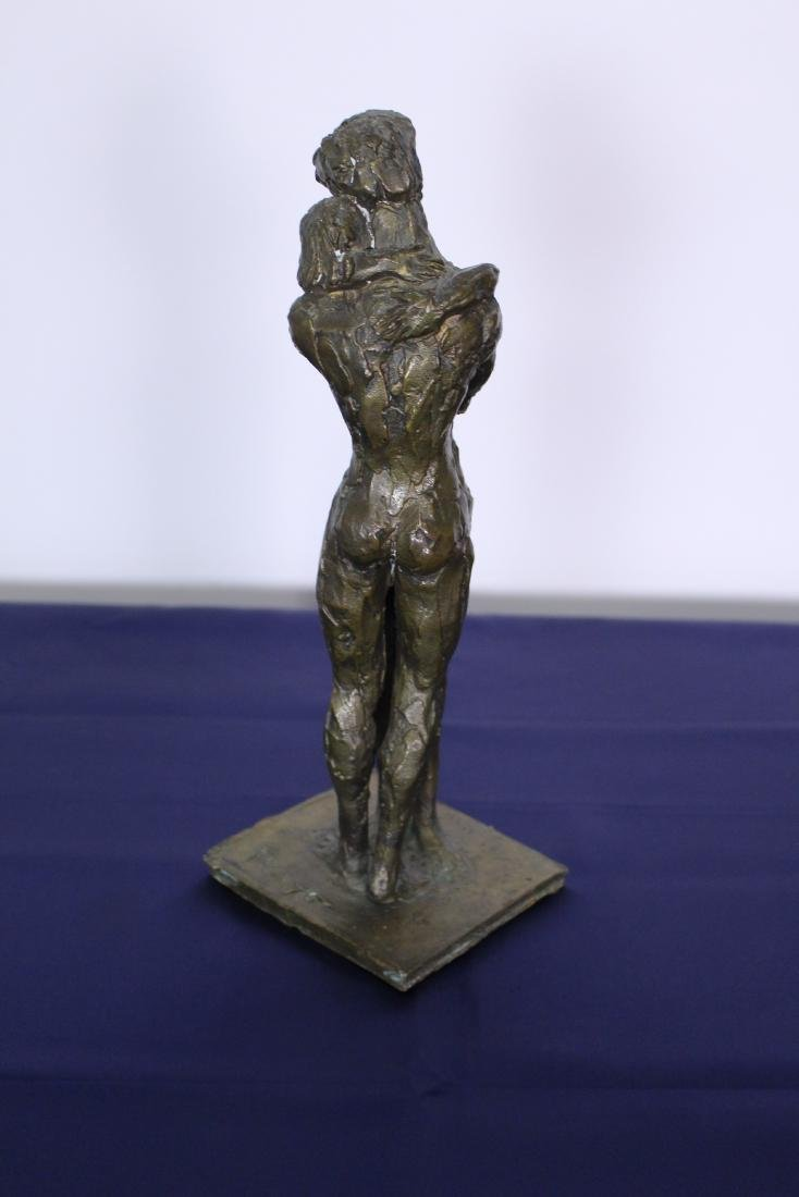 Signed Cast Bronze Statue of Lovers Embracing - 4