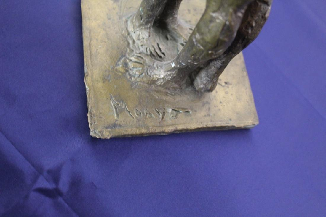 Signed Cast Bronze Statue of Lovers Embracing - 6
