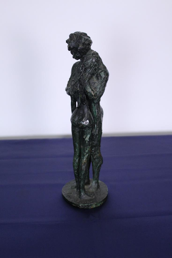 Green Patinated Signed Bronze Statue of Couple