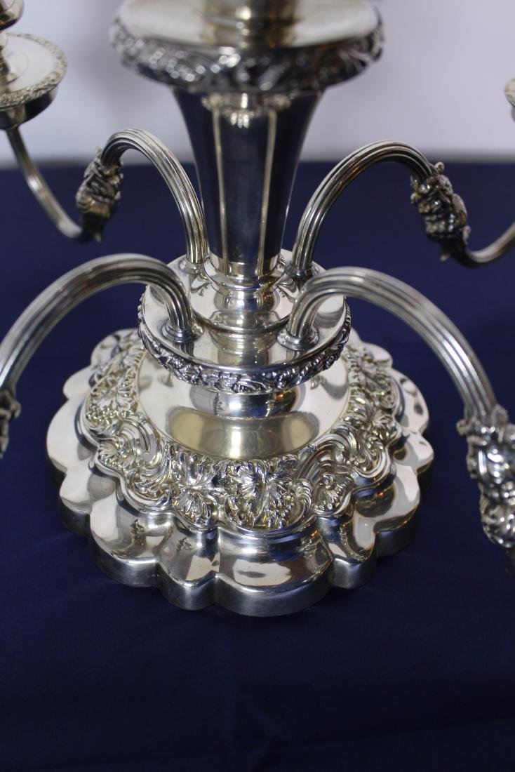 Four Light Silver Plate Candelabra - 3