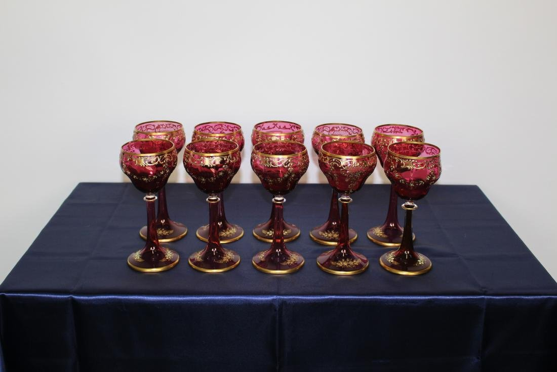 Set of 10 Moser Cranberry Stemmed Goblets