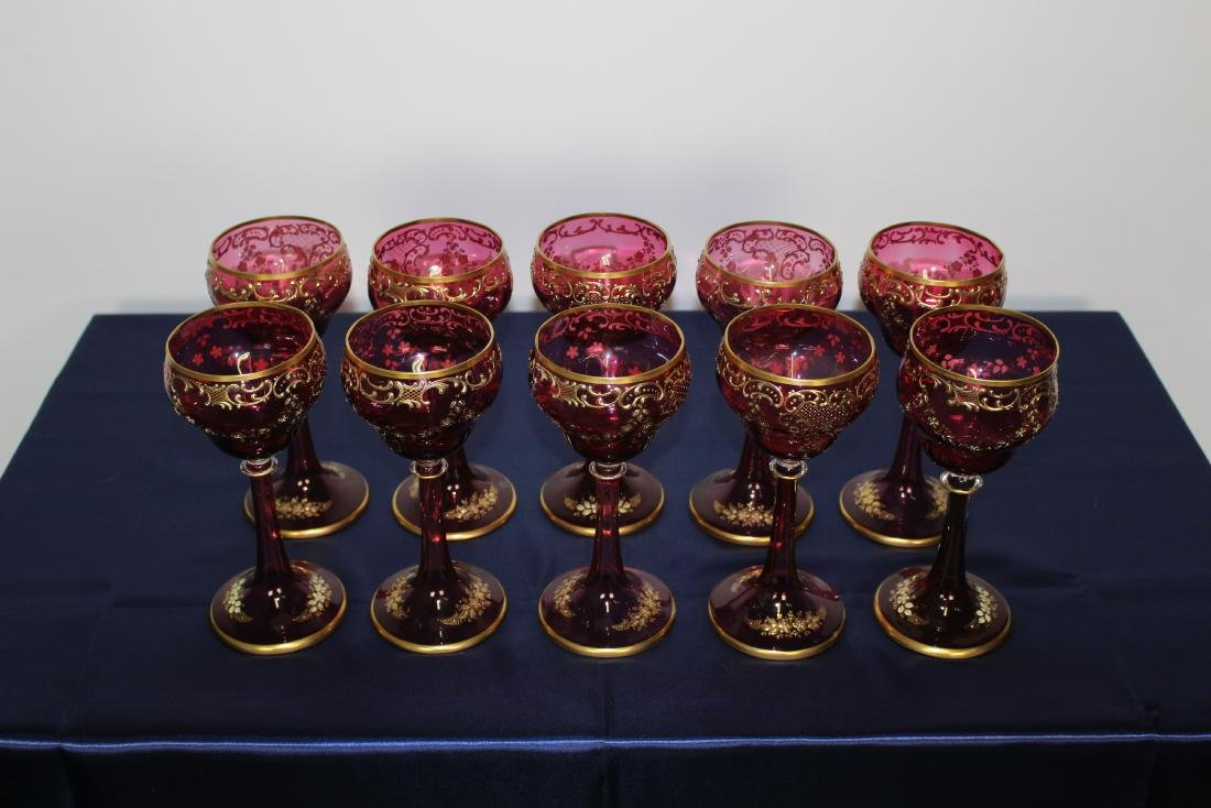 Set of 10 Moser Cranberry Stemmed Goblets - 2