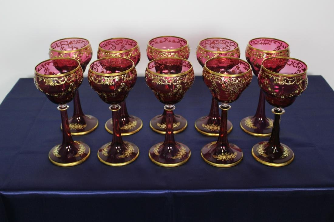 Set of 10 Moser Cranberry Stemmed Goblets - 3