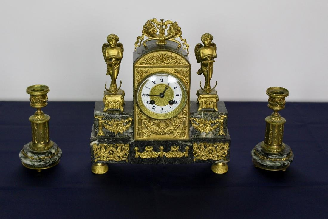 Marble & Bronze Empire Clock with Candlesticks