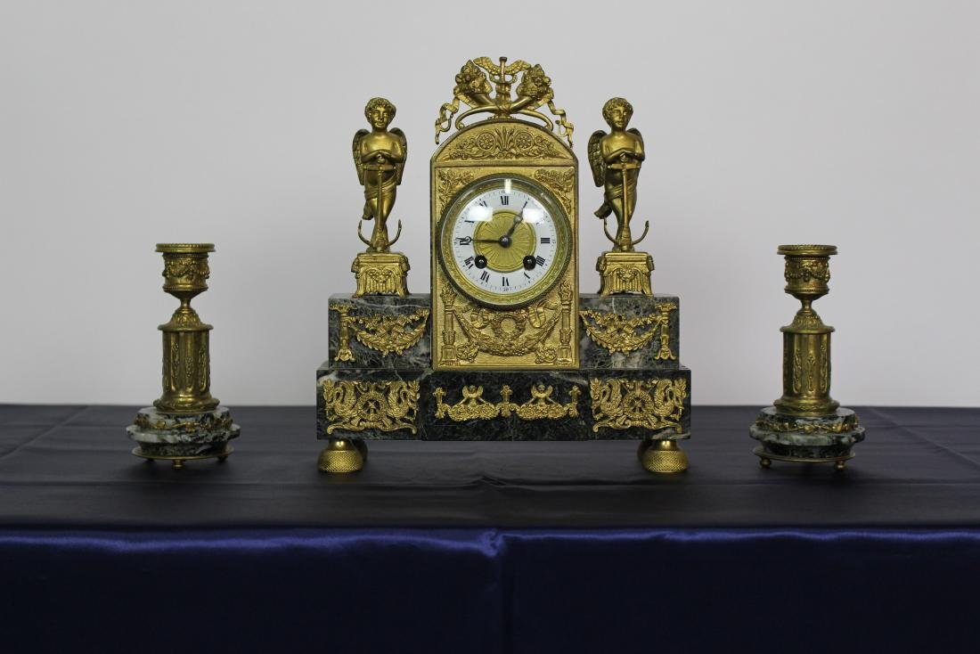 Marble & Bronze Empire Clock with Candlesticks - 2