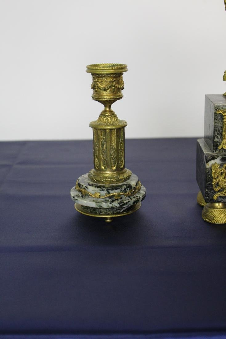 Marble & Bronze Empire Clock with Candlesticks - 3