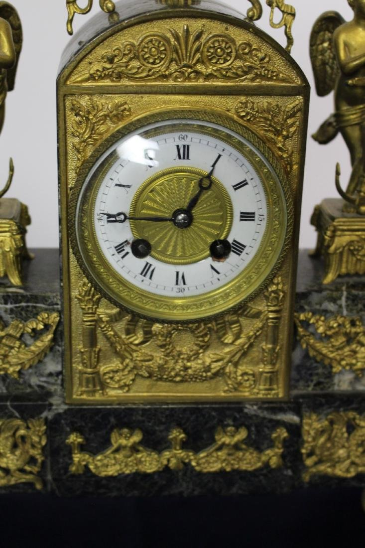 Marble & Bronze Empire Clock with Candlesticks - 6