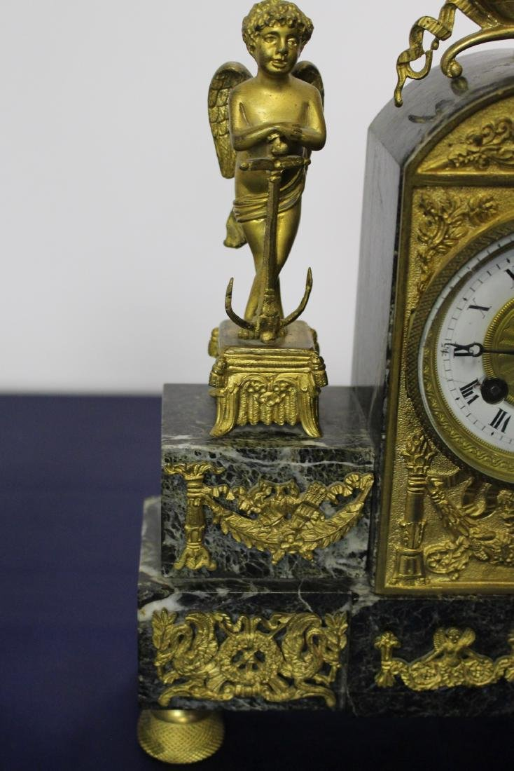 Marble & Bronze Empire Clock with Candlesticks - 7