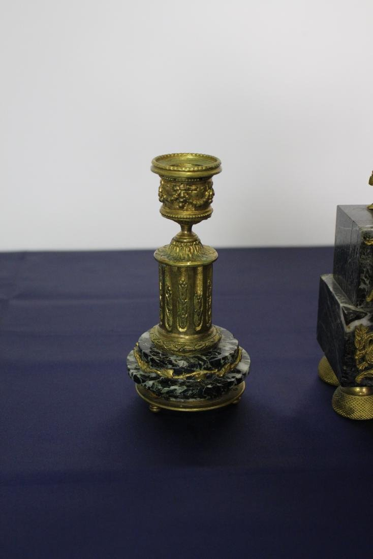 Marble & Bronze Empire Clock with Candlesticks - 9