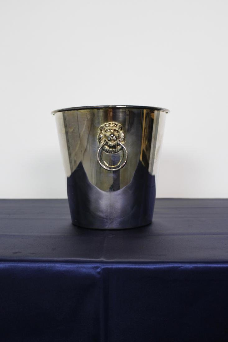 Silver Plate Ice Bucket with Lion Handles