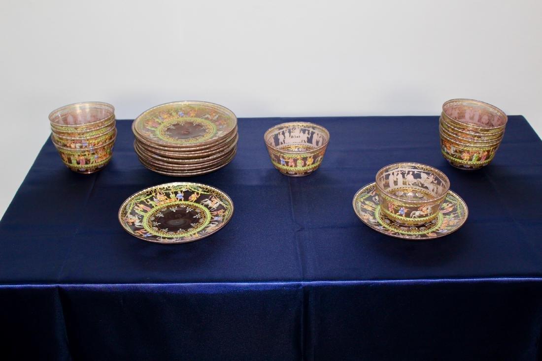 Set of 21 Excellent Decorated Venetian Glassware