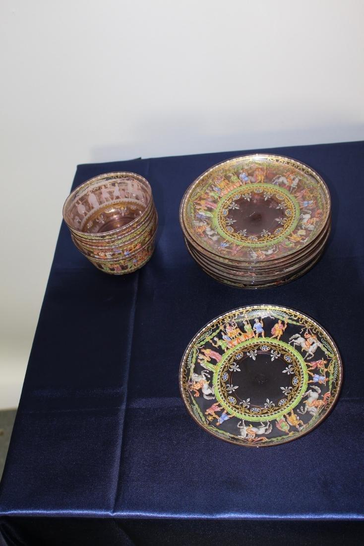 Set of 21 Excellent Decorated Venetian Glassware - 2