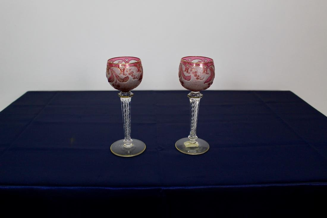 Pair of Baccarat Twist Stem Goblets