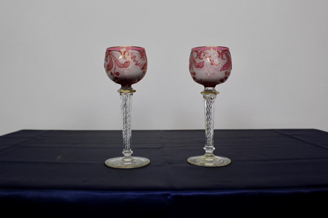 Pair of Baccarat Twist Stem Goblets - 2
