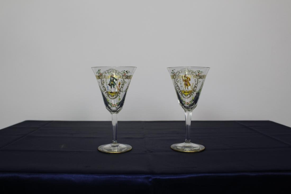 Pair of Decorated Venetian Goblets