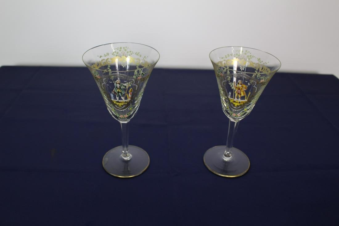 Pair of Decorated Venetian Goblets - 2