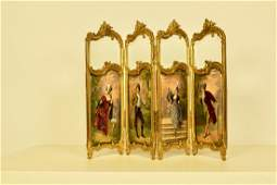 French Rococo 4-Panel Desktop Screen